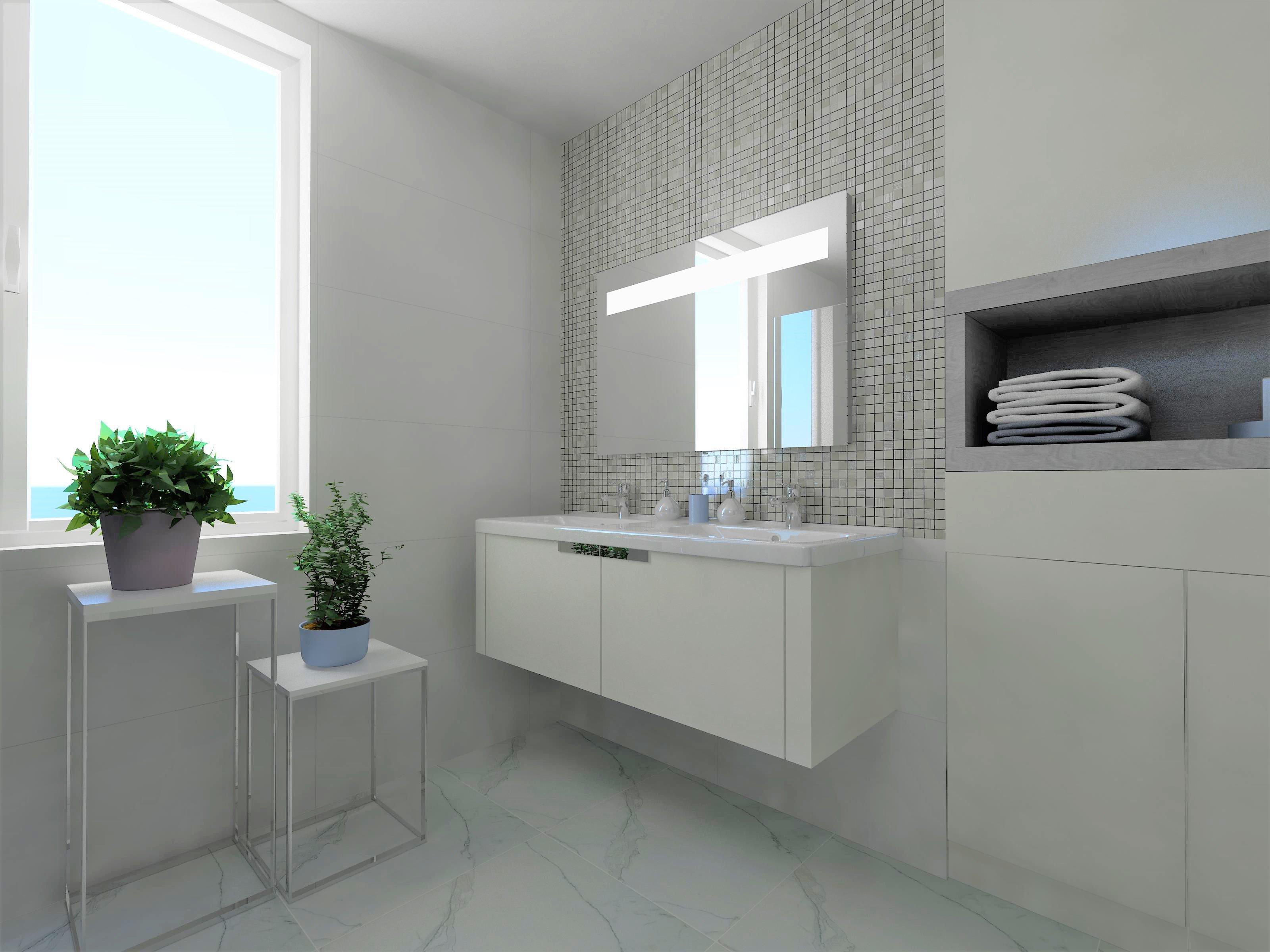 Návrh bílé koupelny