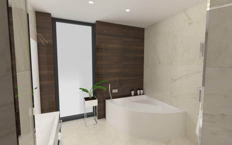 Návrh koupelny s dřevěným dekorem
