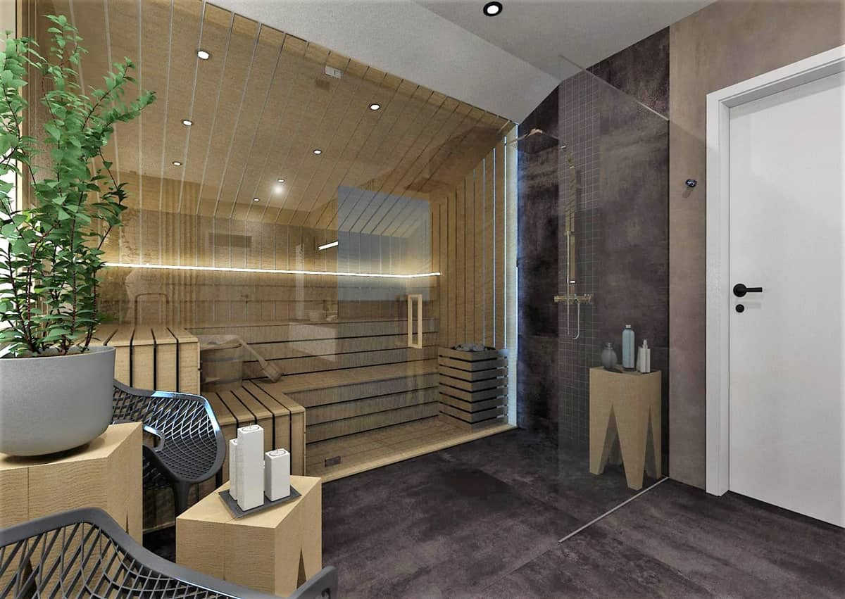 Návrh koupelny se saunou