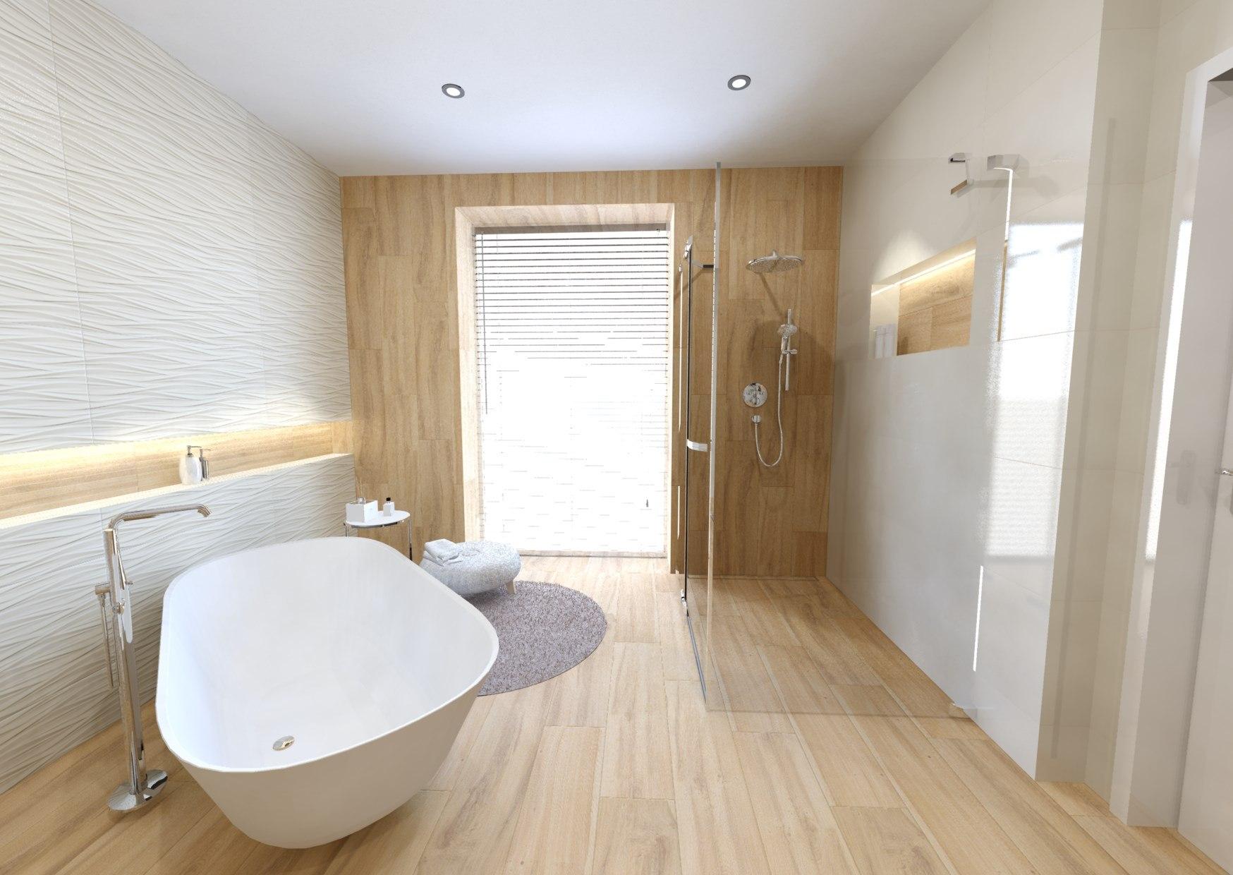 Návrh koupelny v teplých barvách dřeva