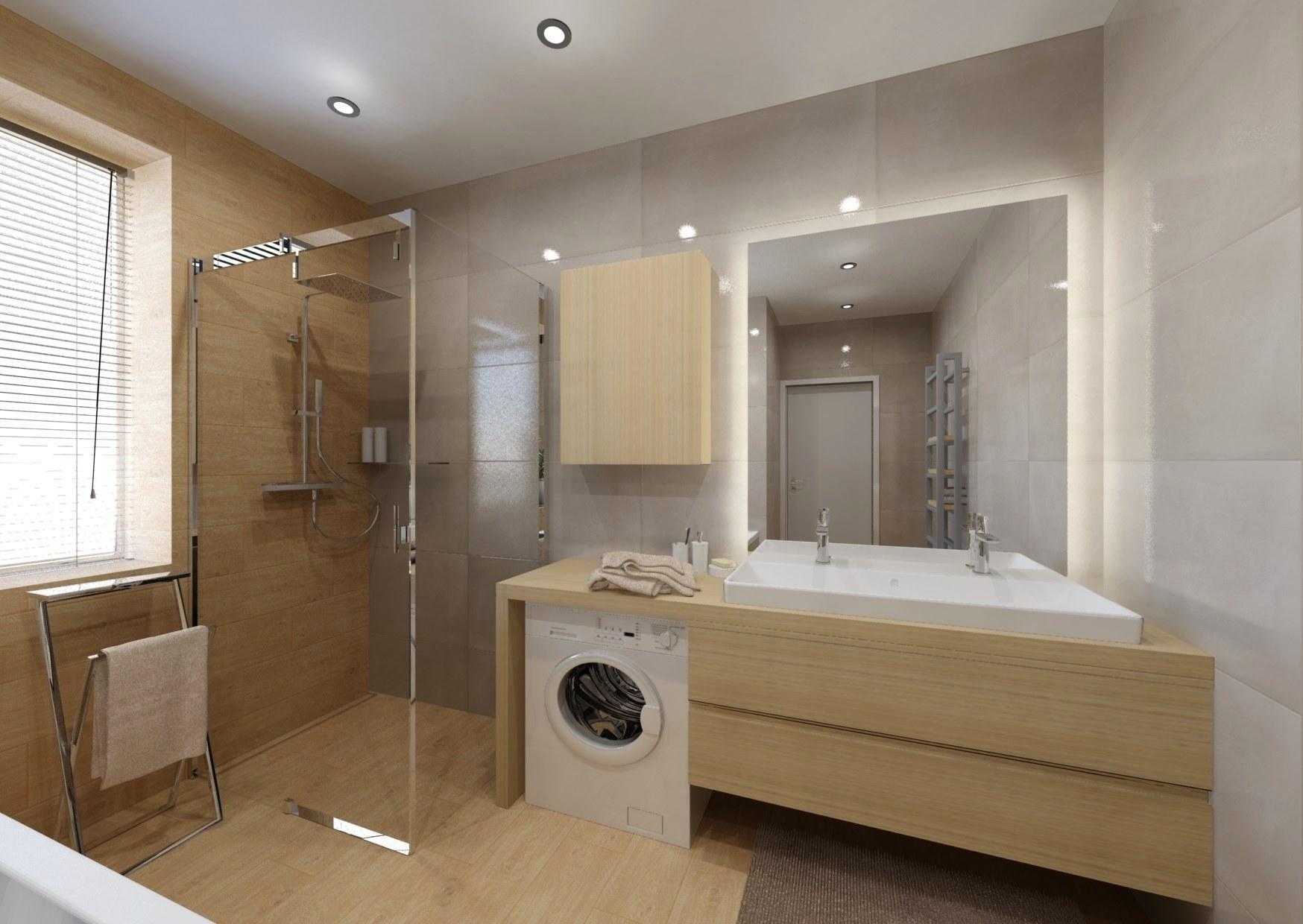 Návrh koupelny se sprchovým koutem a vanou