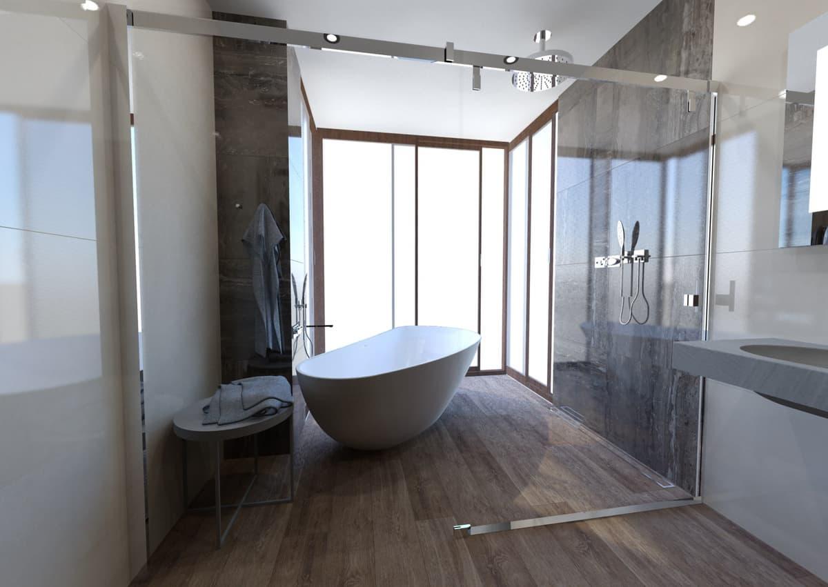 Návrh koupelny s vanou s výhledem do zeleně