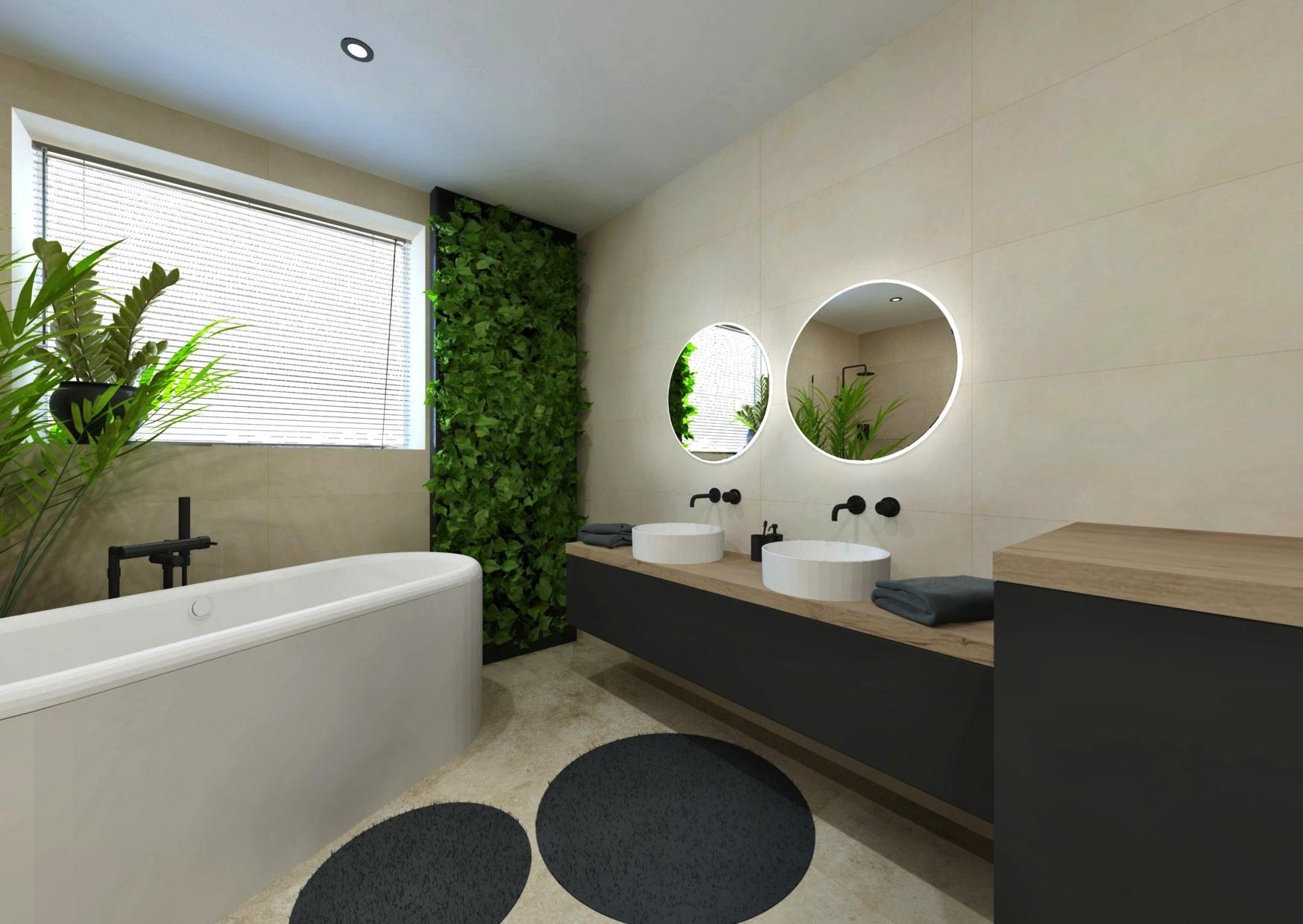 Návrh moderní koupelny se svěží zelení