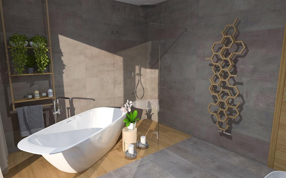 Návrh koupelny s vanou a sprchovým koutem