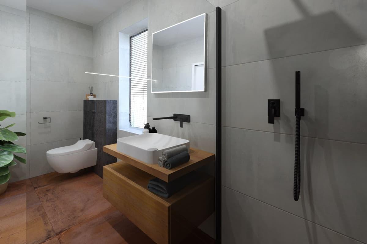 Návrh malé úzké koupelny