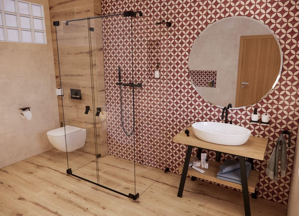 Návrh venkovské koupelny s retro obklady