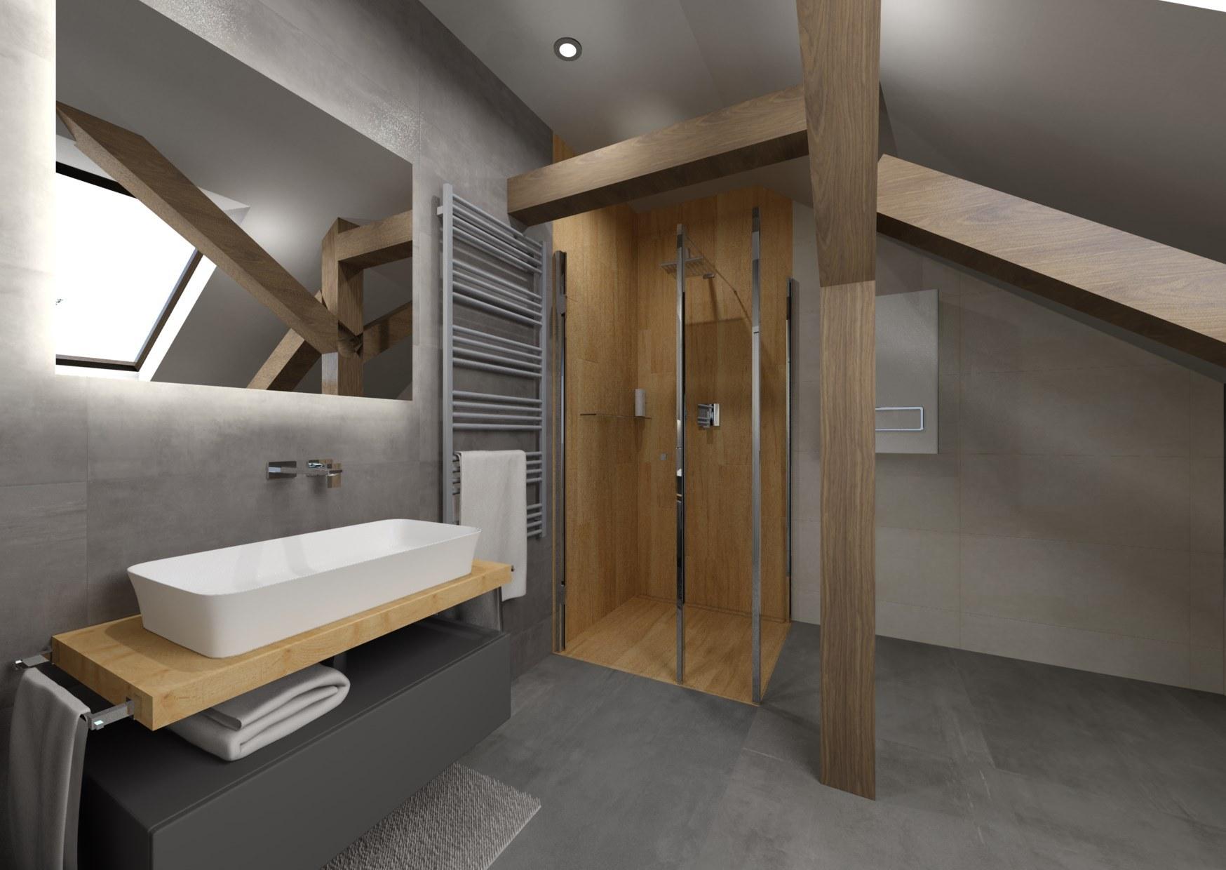Návrh šedé koupelny se dřevem