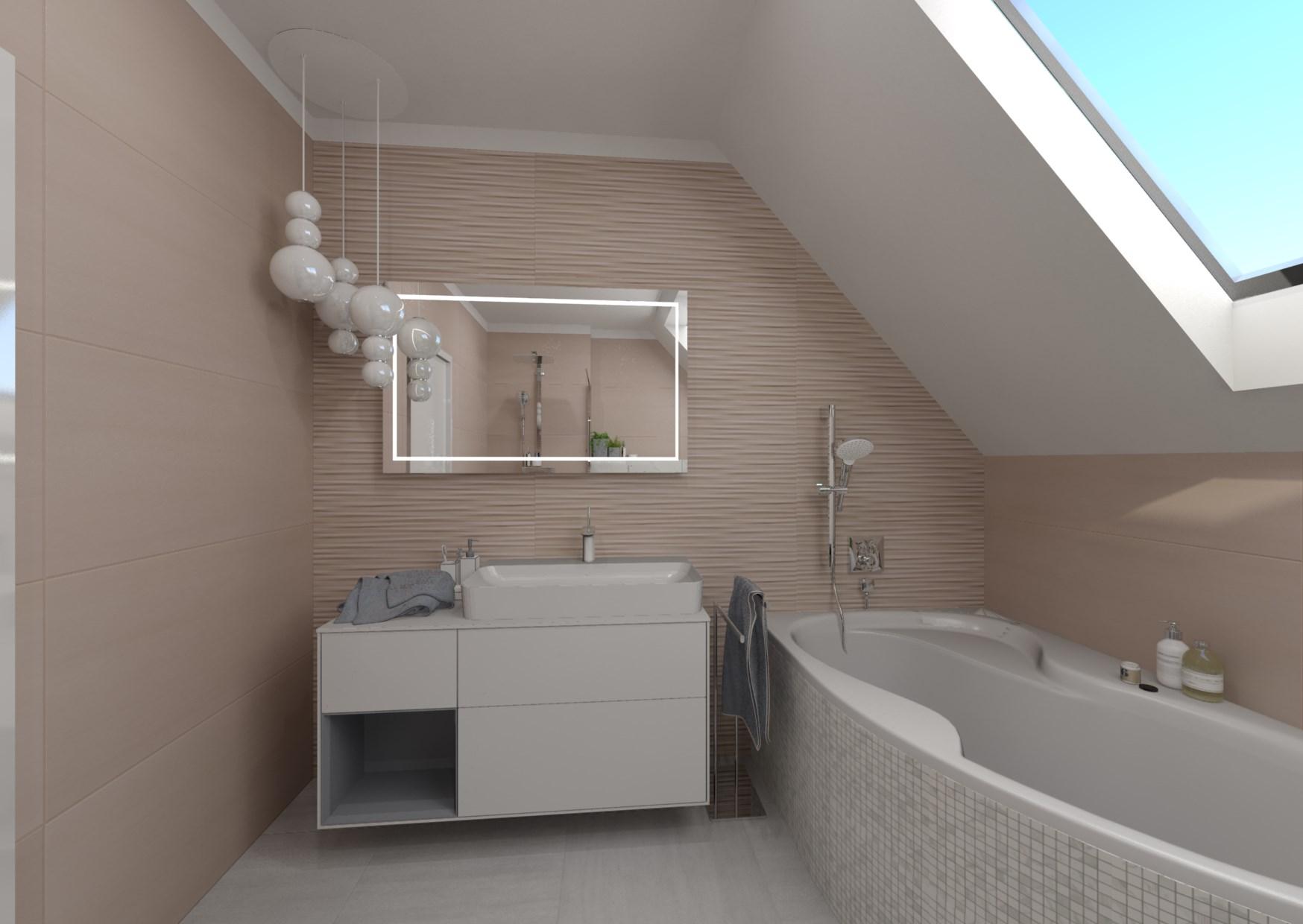 Návrh podkrovní koupelny