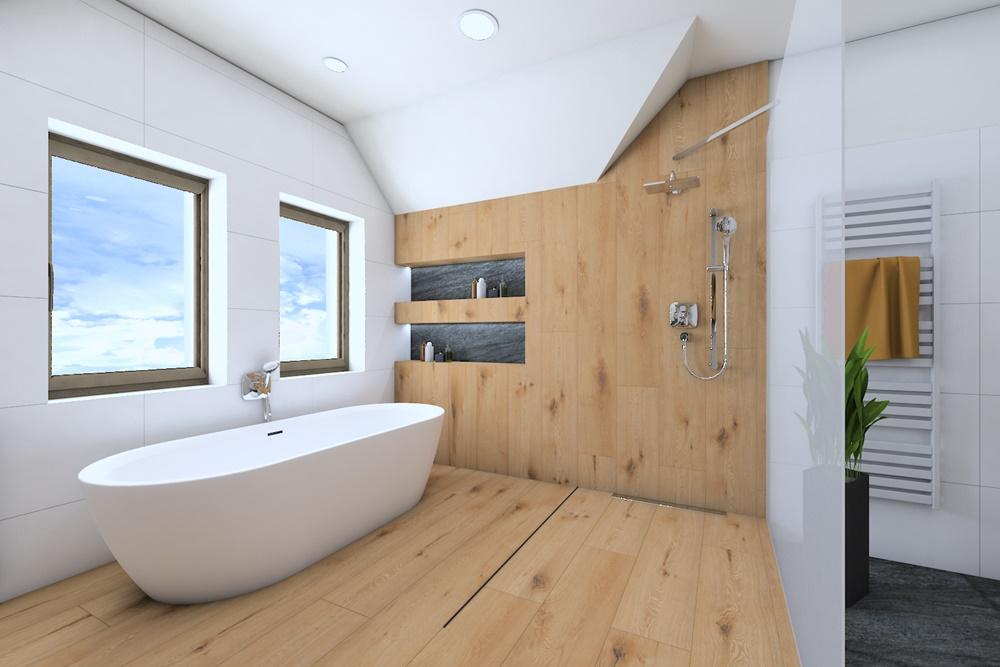 Návrh koupelny ve stylu wellness