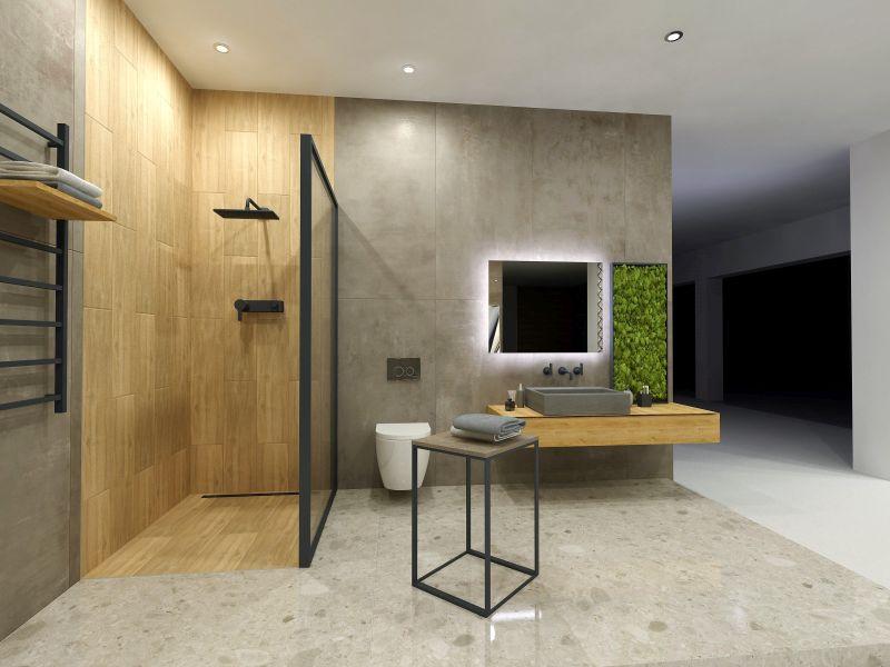 Návrh koupelny s dřevěným dekorem 13