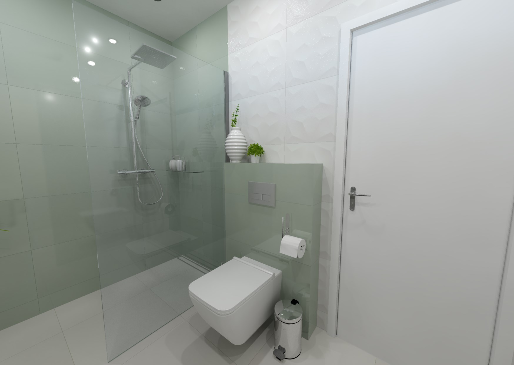 Návrh koupelny s 3D obklady 1