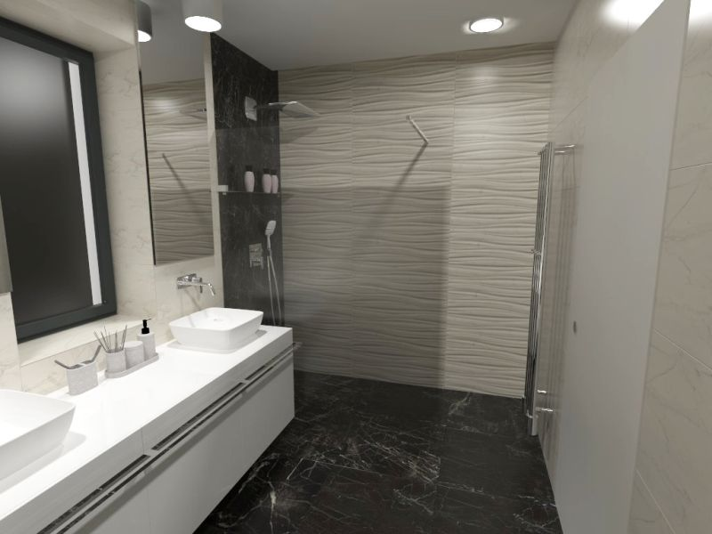Návrh koupelny s 3D obklady 3