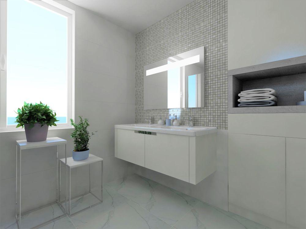 Návrh bílé koupelny 1
