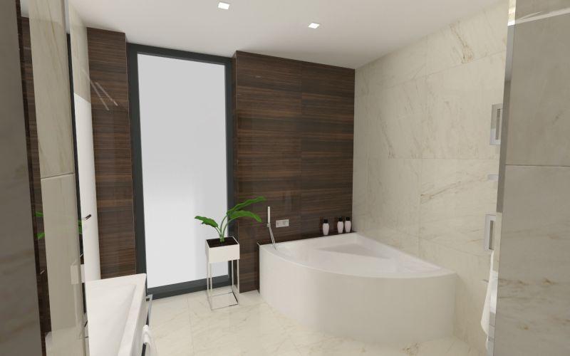 Návrh koupelny s dřevěným dekorem 22