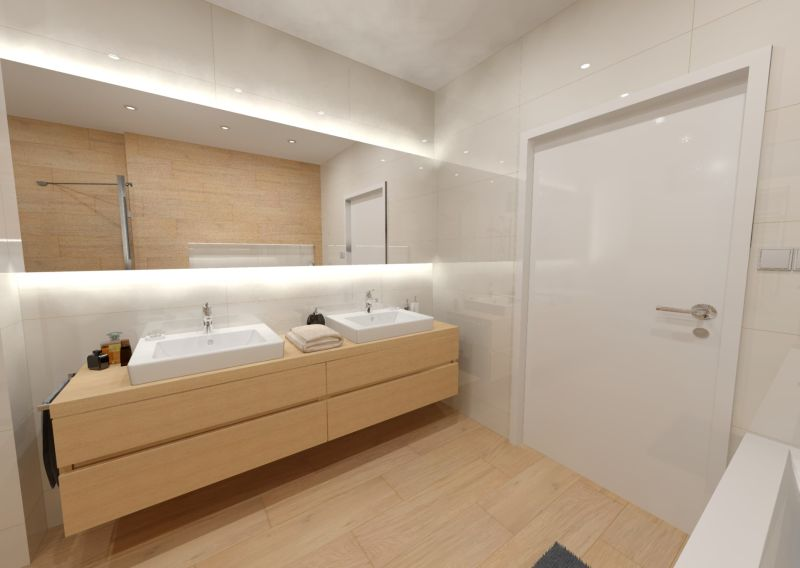 Návrh koupelny s dřevěným dekorem 2