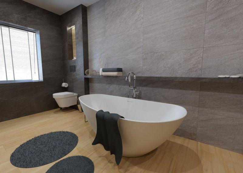 Návrh koupelny s dřevěným dekorem 6