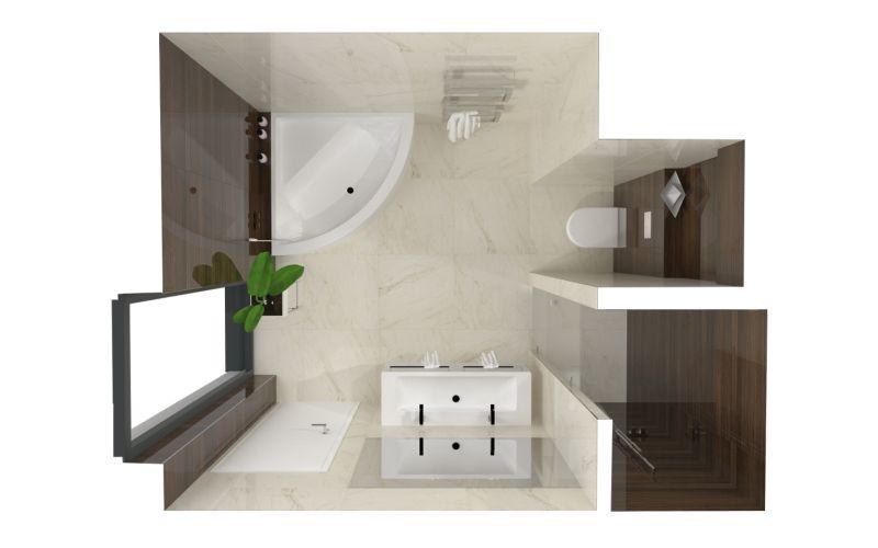 Návrh koupelny s dřevěným dekorem 7
