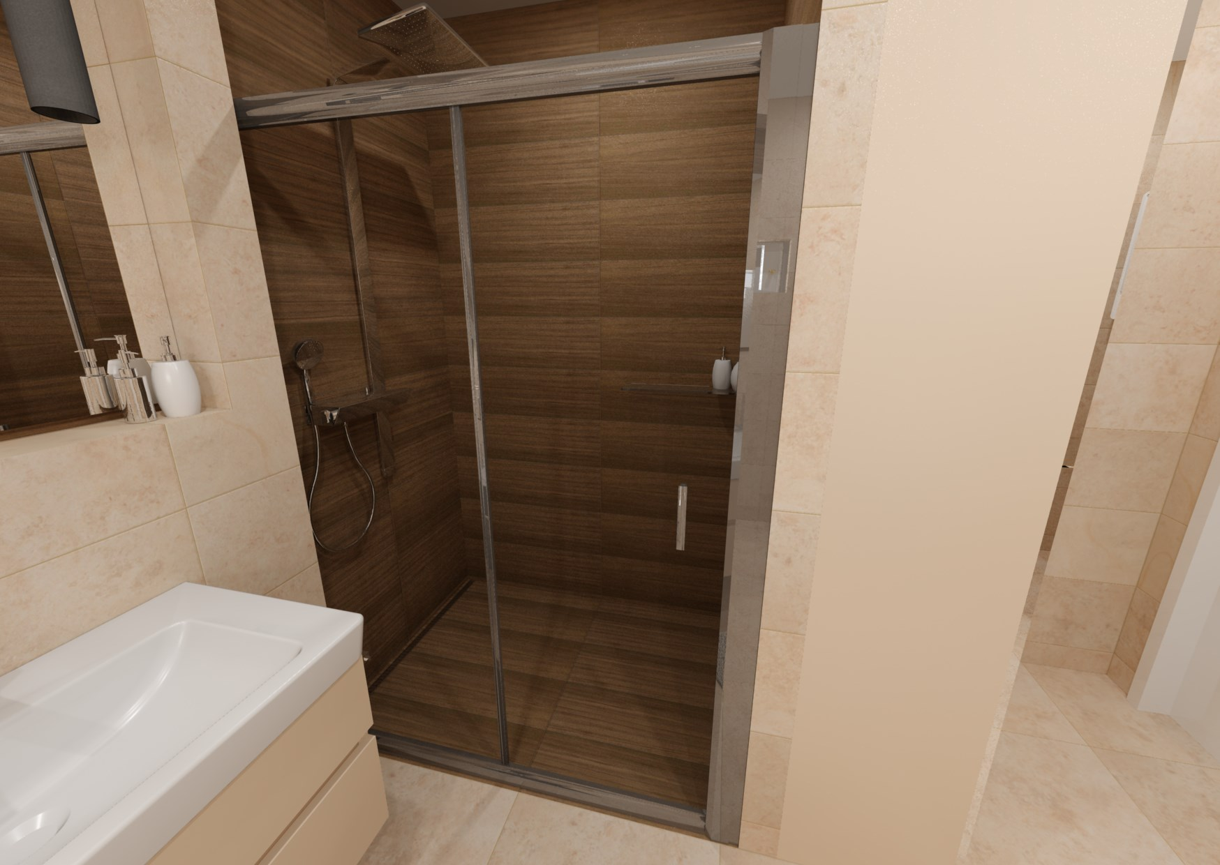 Návrh koupelny s dřevěným dekorem 8