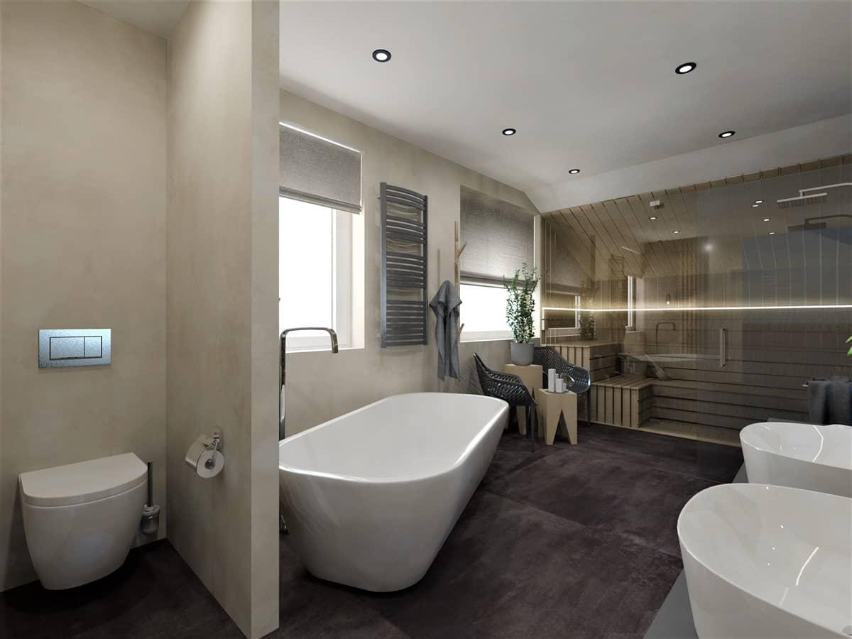 Návrh koupelny se saunou 2