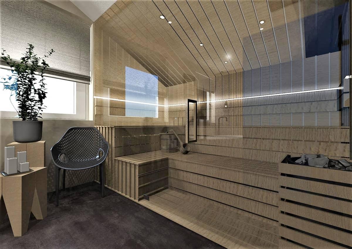 Návrh koupelny se saunou 1