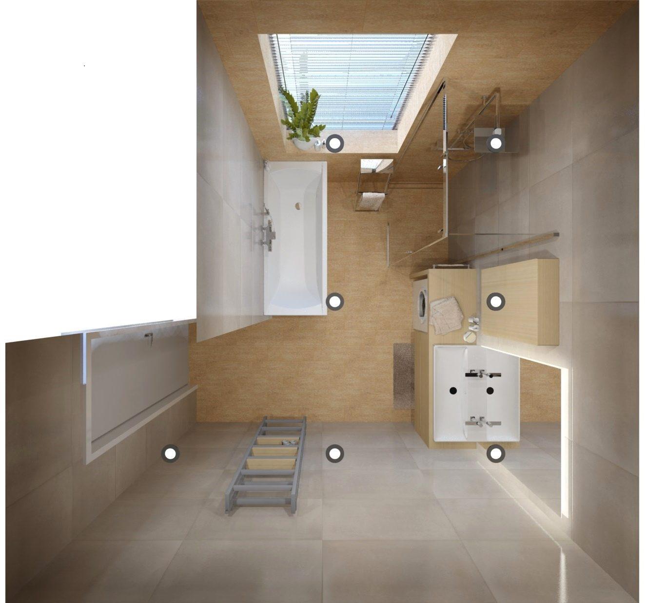 Návrh koupelny se sprchovým koutem a vanou 3