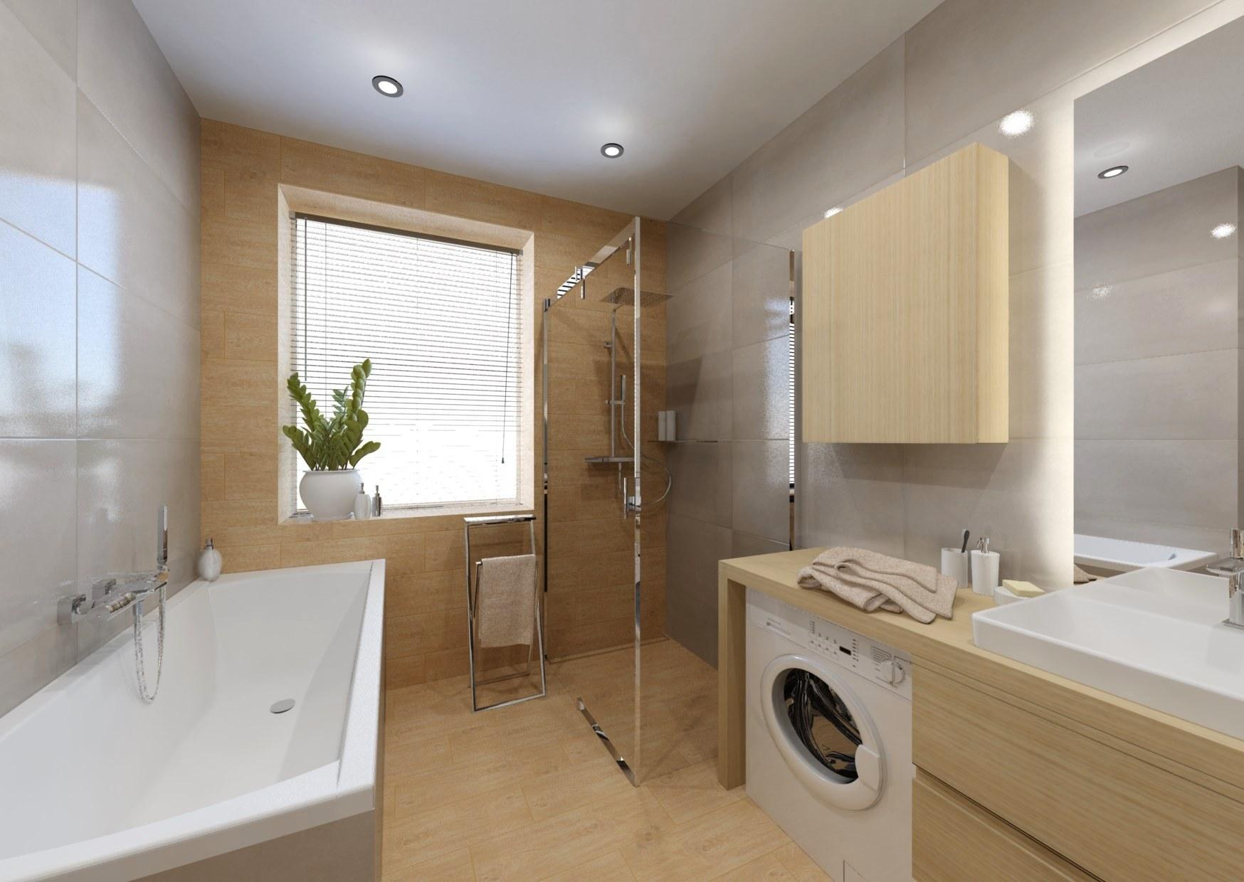 Návrh koupelny se sprchovým koutem a vanou 4