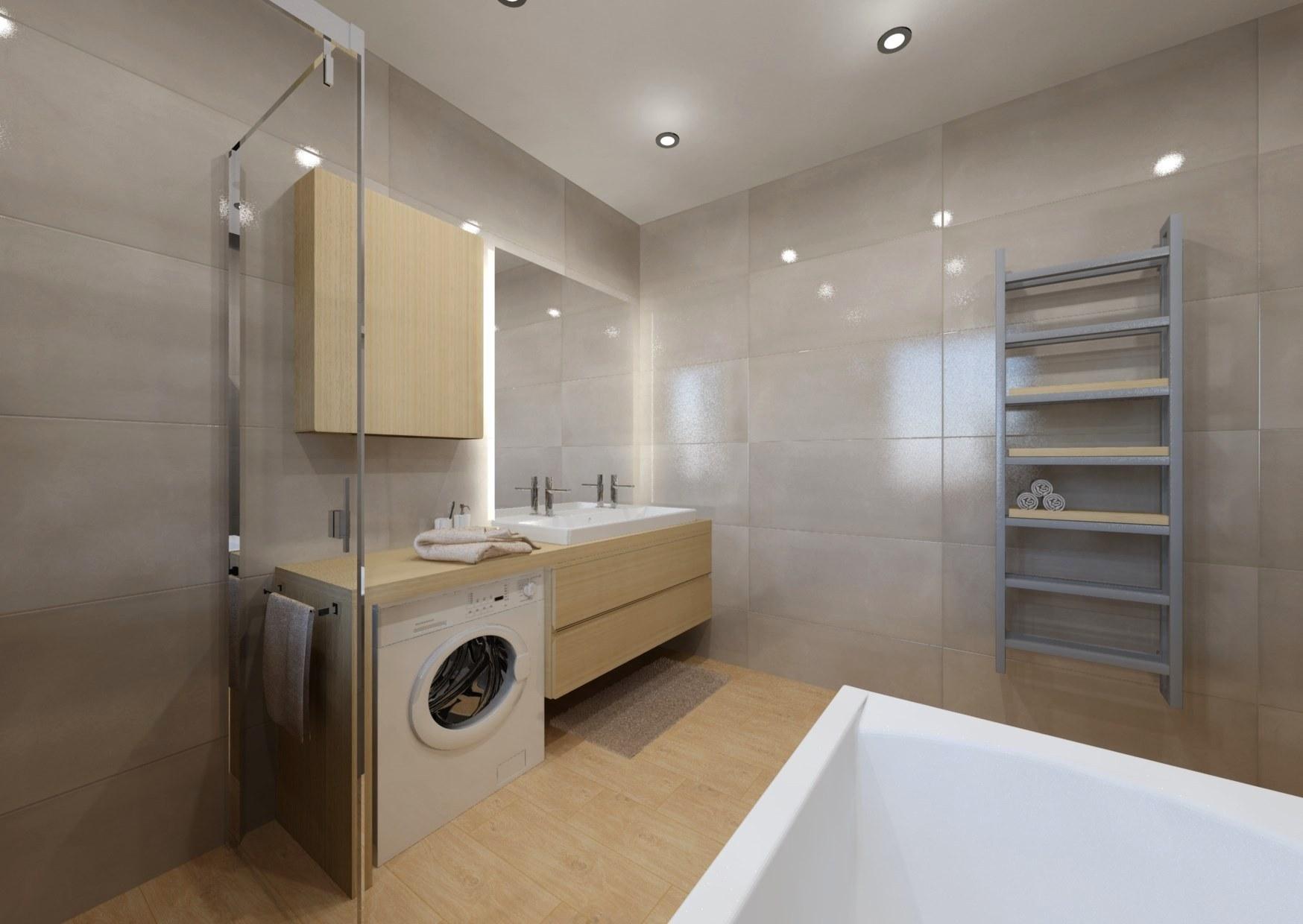 Návrh koupelny se sprchovým koutem a vanou 6