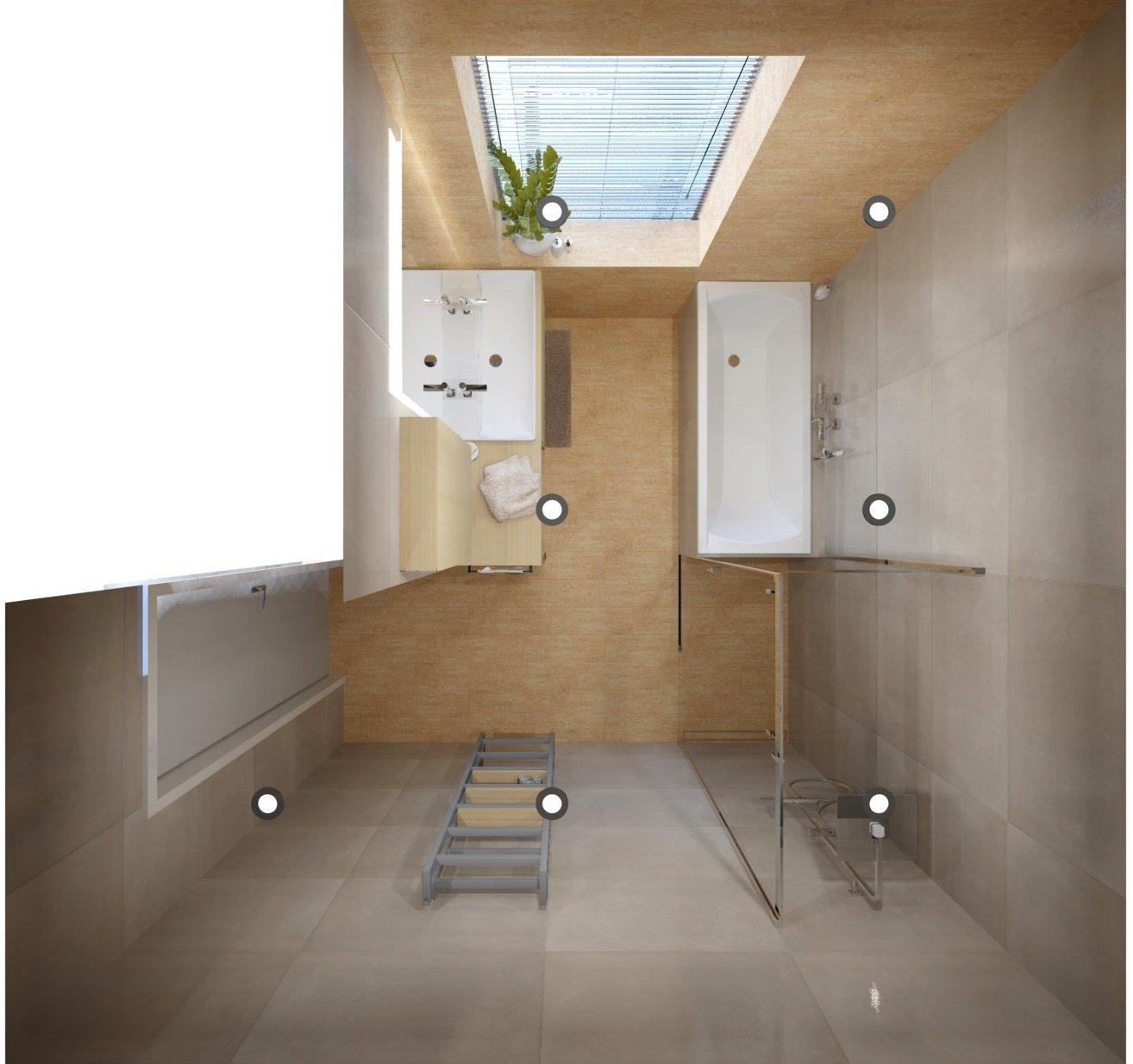 Návrh koupelny se sprchovým koutem a vanou 7