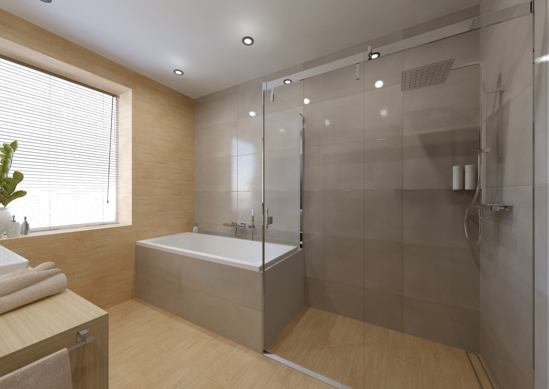 Návrh koupelny se sprchovým koutem a vanou 10