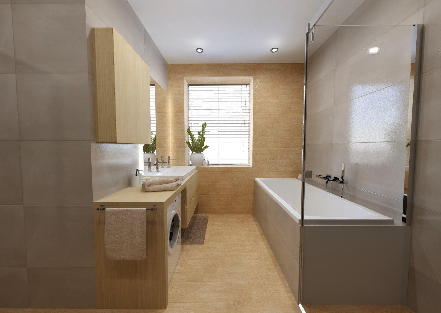Návrh koupelny se sprchovým koutem a vanou 11
