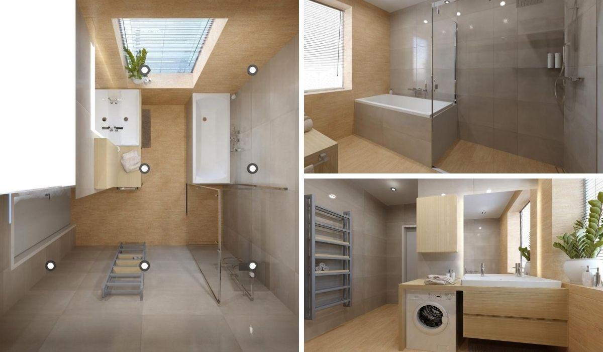 Návrh koupelny se sprchovým koutem a vanou 2