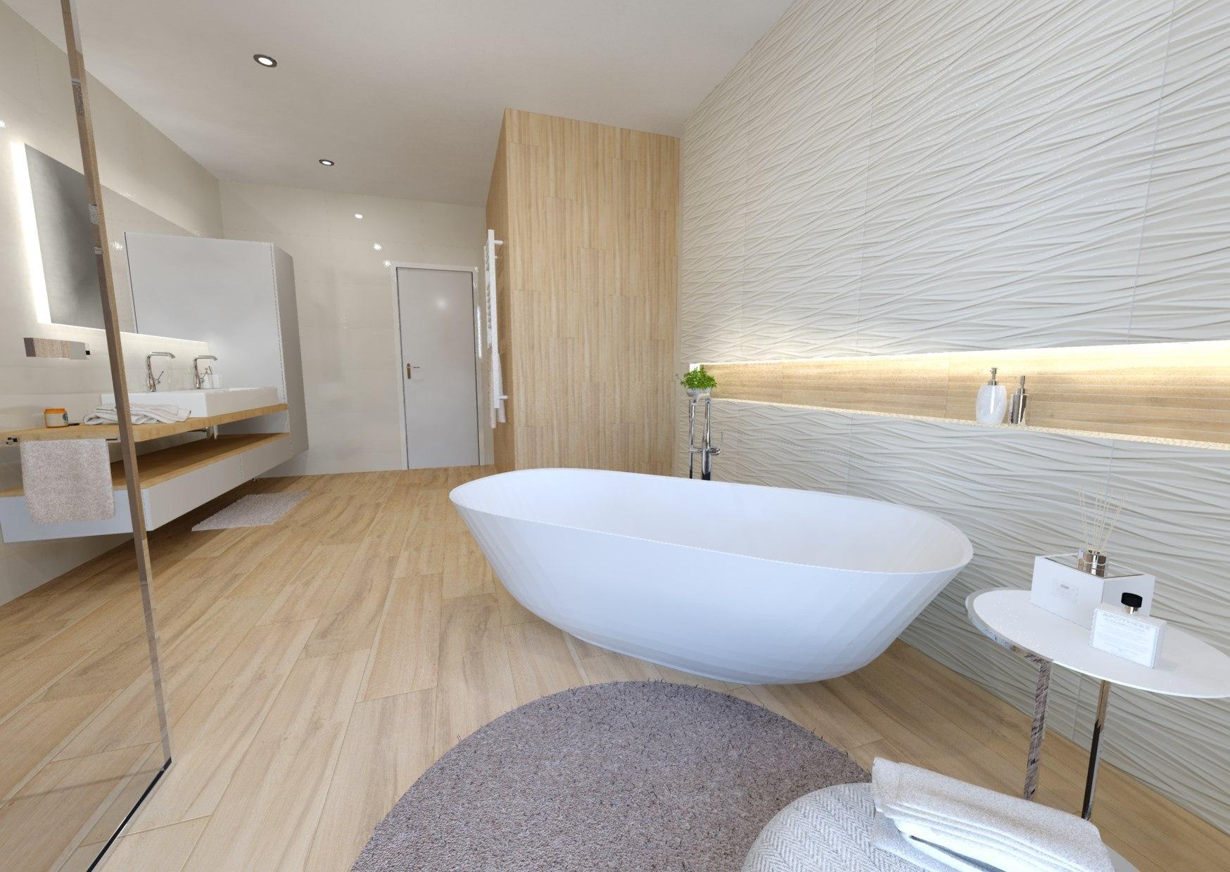 Návrh koupelny v teplých barvách dřeva 0