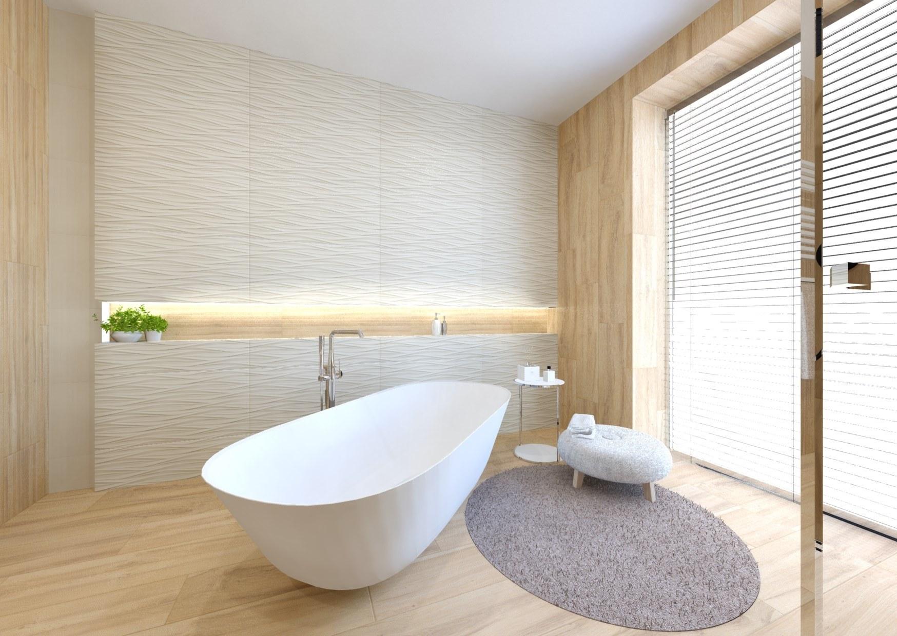 Návrh koupelny v teplých barvách dřeva 1