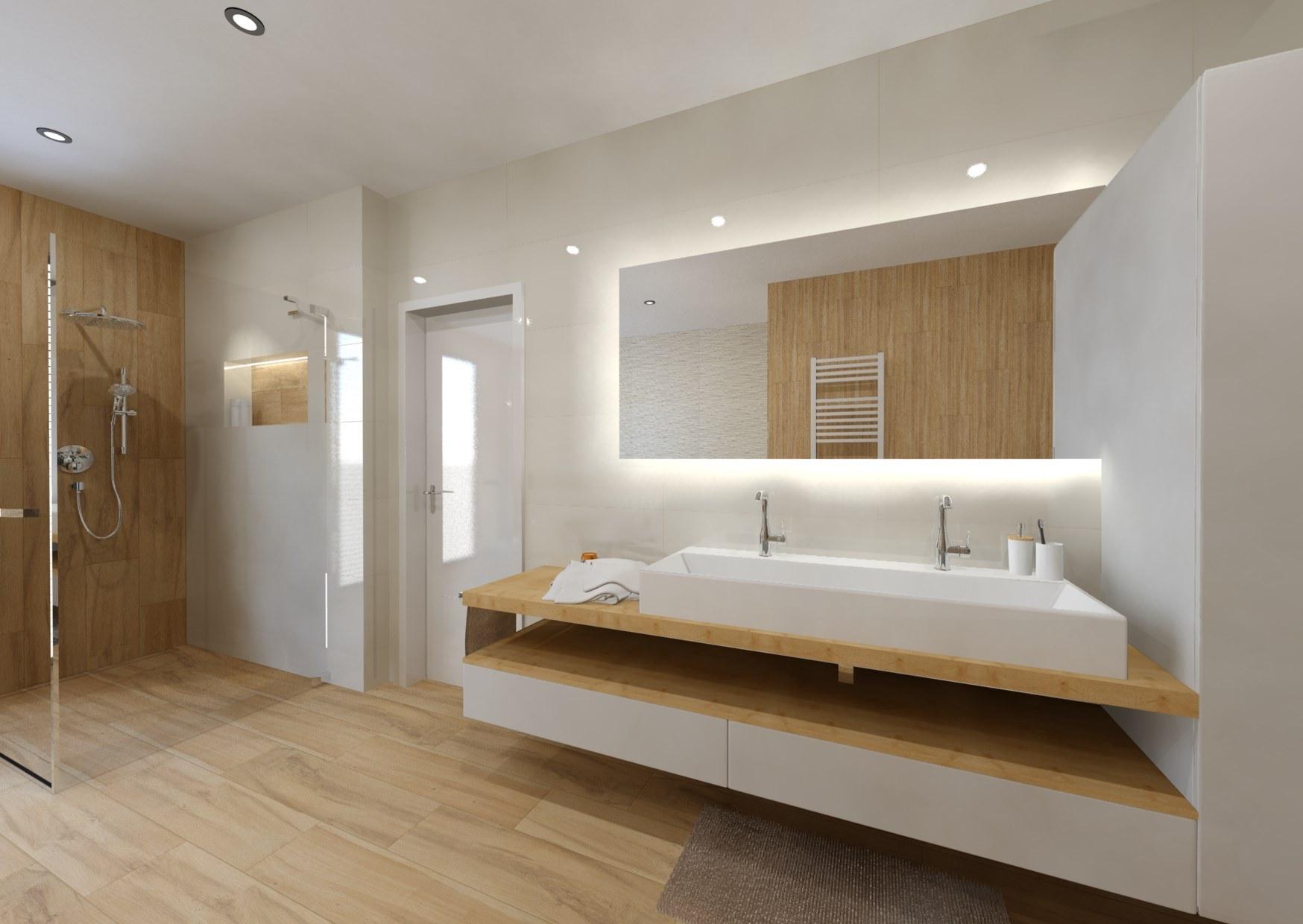 Návrh koupelny v teplých barvách dřeva 2