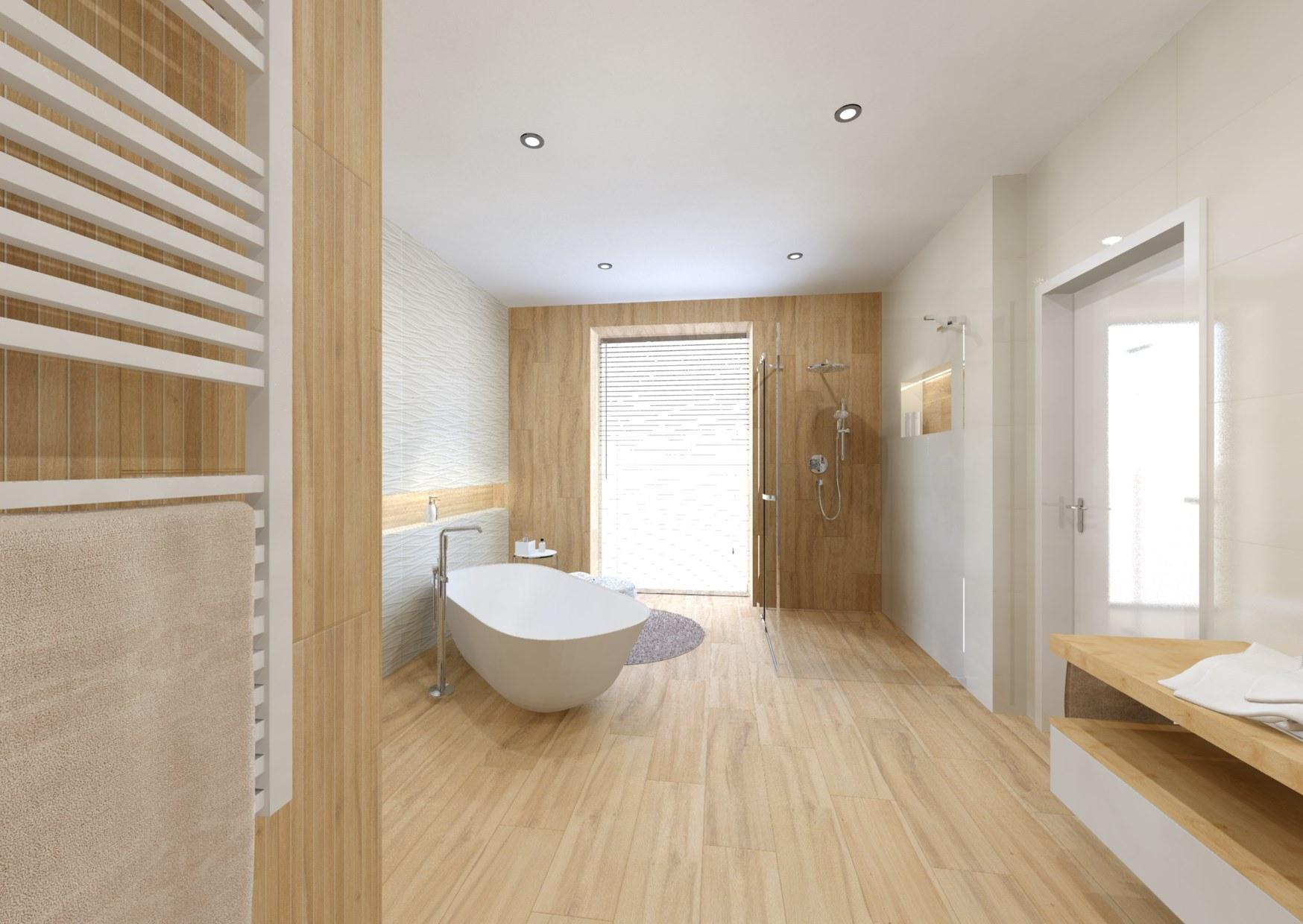 Návrh koupelny v teplých barvách dřeva 3