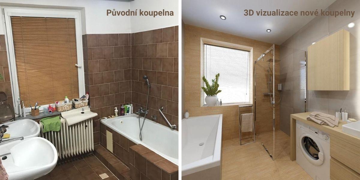 Návrh koupelny se sprchovým koutem a vanou 0