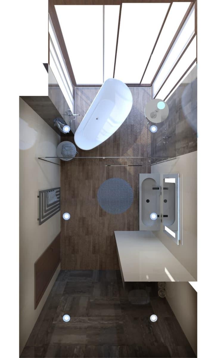 Návrh koupelny s vanou s výhledem do zeleně 0