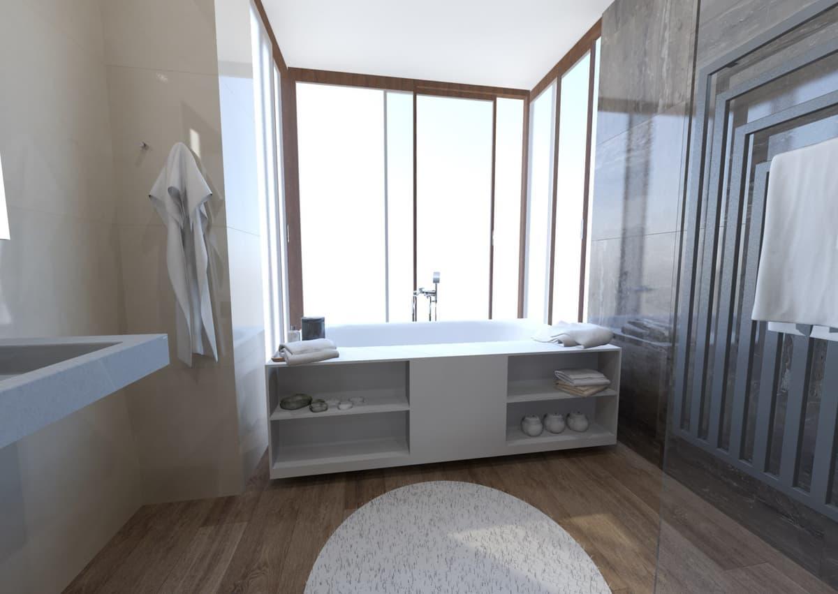 Návrh koupelny s vanou s výhledem do zeleně 2