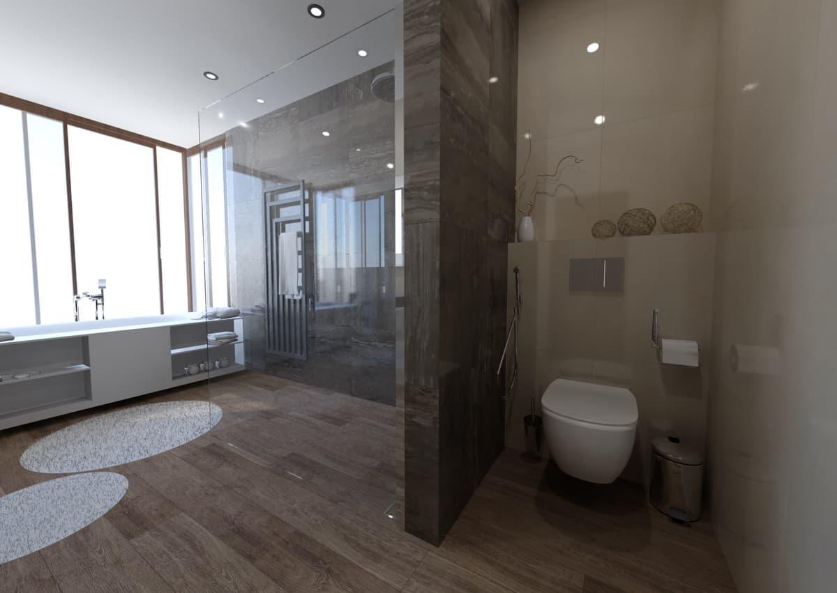 Návrh koupelny s vanou s výhledem do zeleně 4