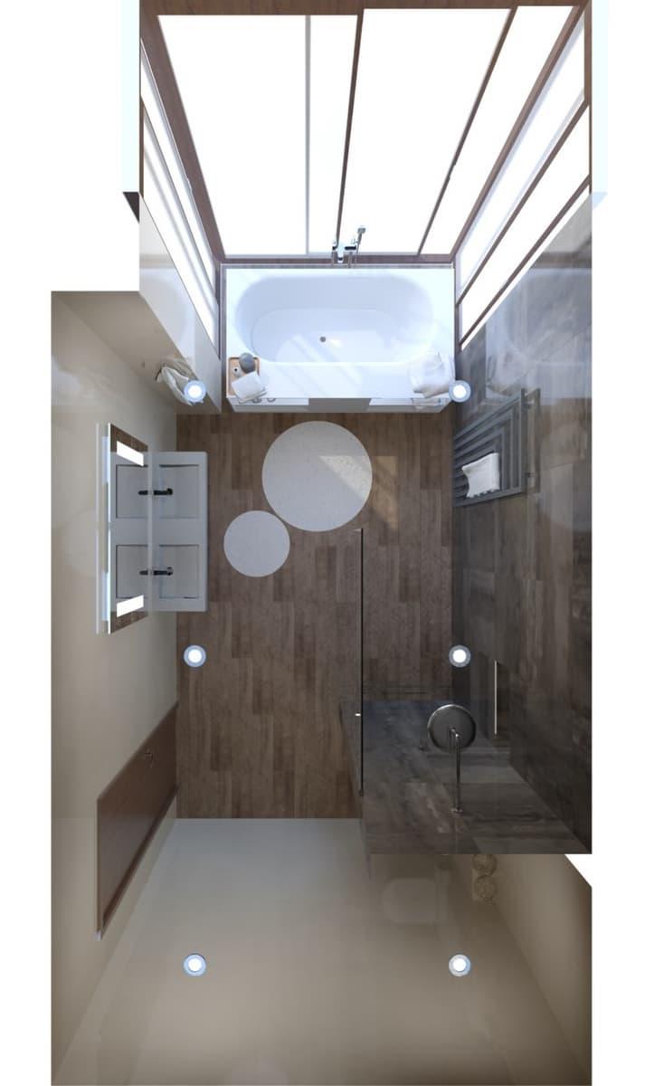 Návrh koupelny s vanou s výhledem do zeleně 1