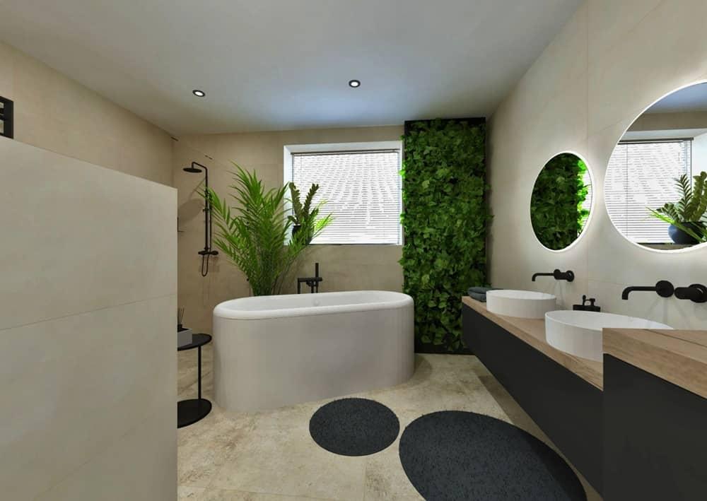 Návrh moderní koupelny se svěží zelení 0