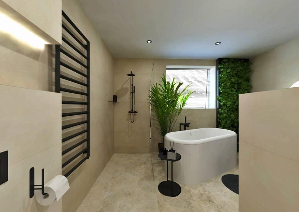 Návrh moderní koupelny se svěží zelení 2