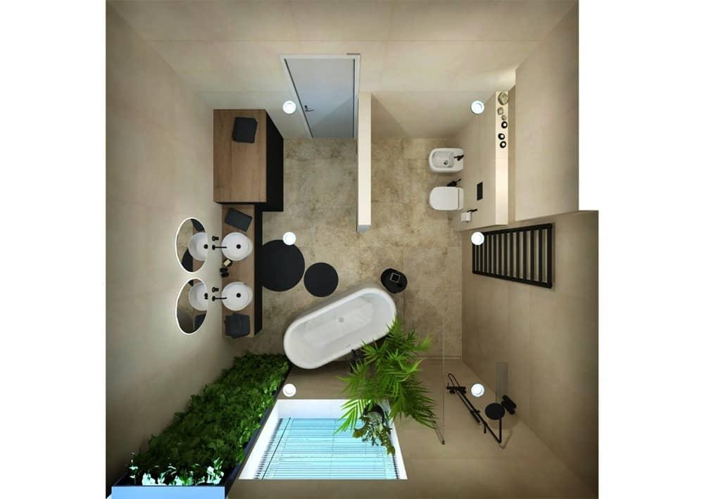 Návrh moderní koupelny se svěží zelení 3