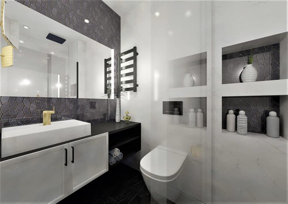 Návrh mramorové koupelny se zlatými doplňky 4