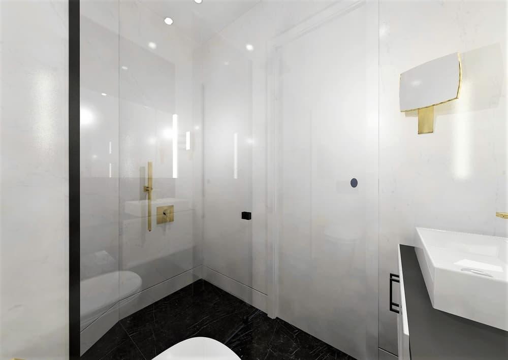 Návrh mramorové koupelny se zlatými doplňky 6