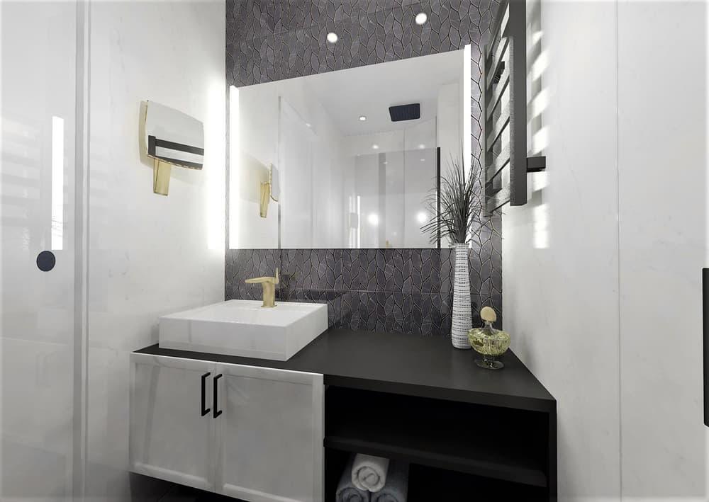 Návrh mramorové koupelny se zlatými doplňky 7