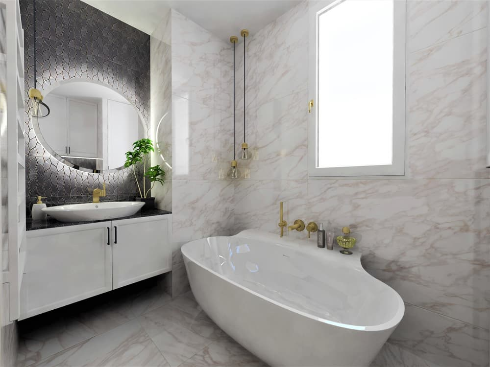 Návrh mramorové koupelny se zlatými doplňky 0