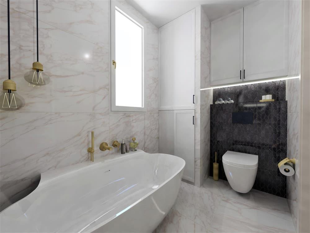 Návrh mramorové koupelny se zlatými doplňky 1