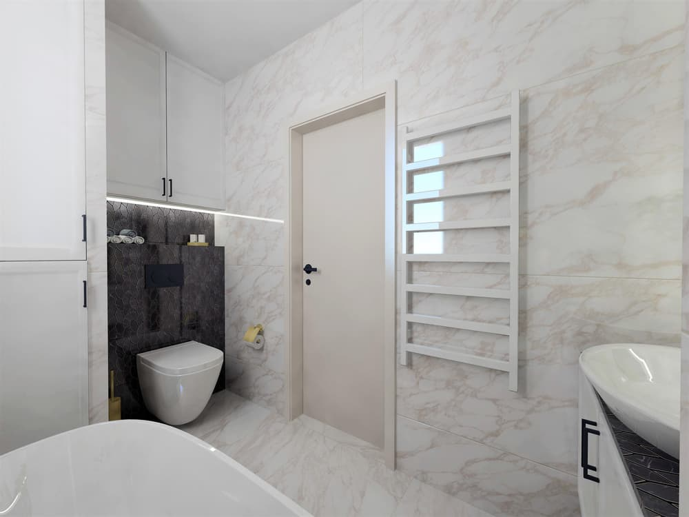 Návrh mramorové koupelny se zlatými doplňky 2