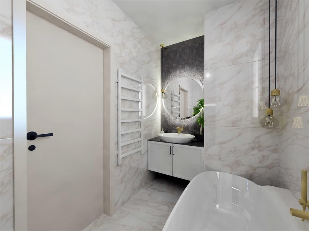 Návrh mramorové koupelny se zlatými doplňky 3